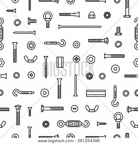 Pattern Construction Hardware, Screws, Bolts, Nuts And Rivets. Equipment Stainless, Fasteners, Metal