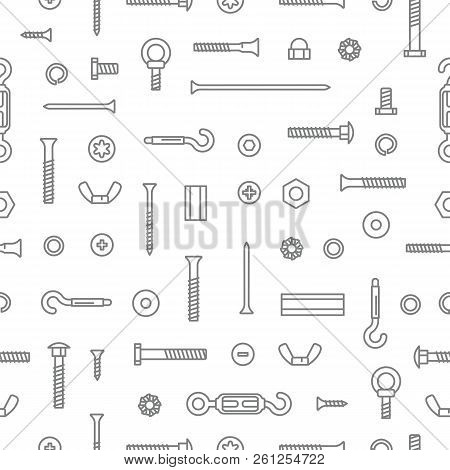 Construction Hardware, Screws, Bolts, Nuts And Rivets Pattern Background. Equipment Stainless, Faste