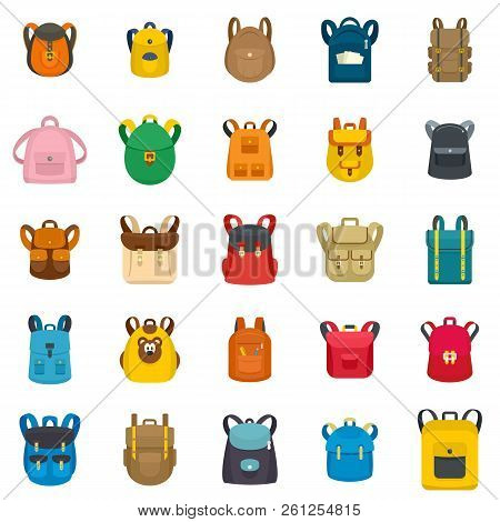 Backpack School Travel Sport Kid Camping Bag Icons Set. Flat Illustration Of 25 Backpack School Trav