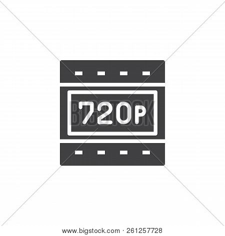 720p Hd Resolution Vector Icon. Filled Flat Sign For Mobile Concept And Web Design. Hdtv Quality Sim