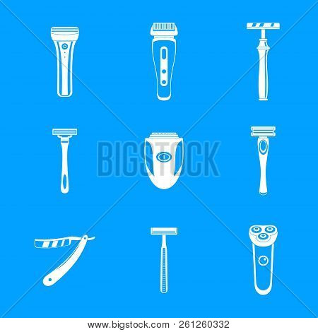 Shaver Blade Razor Personal Icons Set. Simple Illustration Of 9 Shaver Blade Razor Personal Icons Fo