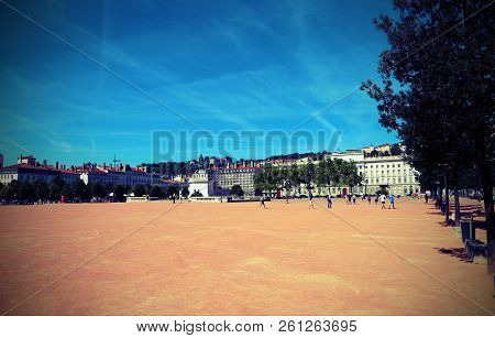 Square In Lyon Called Place Bellecour In France With Vintage Effect