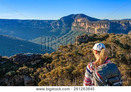 Scenic Views Across The Grose Valley To Mount Banks And Escarpment Cliffs With The Typical Blue Hue