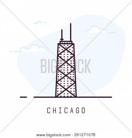 Chicago City Line Style Illustration. Famous Tower In Chicago. Architecture City Symbol Of Usa. Outl