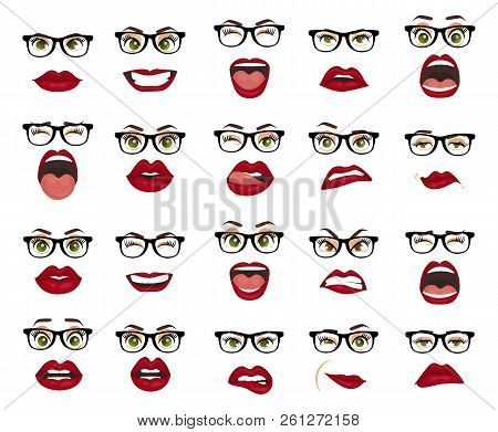 Comic Emotions. Woman With Glasses Facial Expressions, Gestures, Emotions Happiness Surprise Disgust