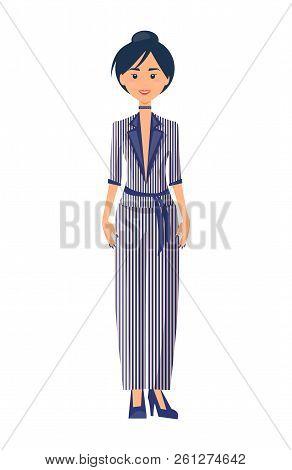 Model in elegance suit, color vector illustration, striped pattern on fashionable female costume, vogue belt, heeled shoes, clothing set, cute choker. poster