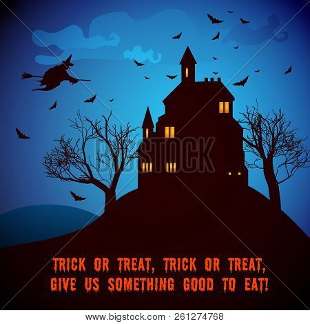 Halloween Party Night Poster With Haunted House Trees Flying Bats Witch Ghosts In Cartoon Style Vect