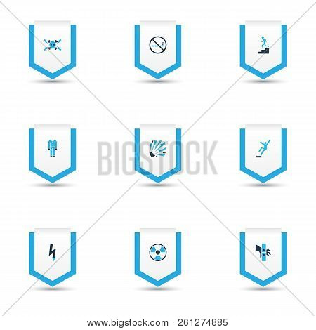 Protection Icons Colored Set With Protective Clothing, Electrical Hazard, Explosive And Other Bomb E