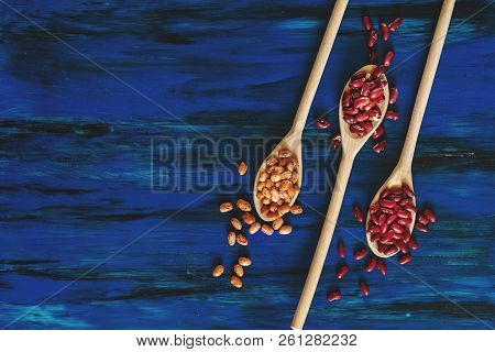 Assortment Of Kidney Beans In Wooden Spoon On Dark Blue Wooden Background, Mung Bean, Red Kidney Bea