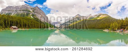 Louise Lake,canada - June 30,2018 - Panoramic View At The Lake Louis In Nature Of Candadian Rocky Mo