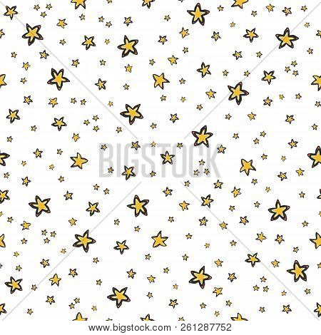 Starry Sky Seamless Vector Pattern, Hand Drawn Illustration Yellow