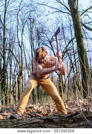 Masculine Leisure. Attractive Gamekeeper. Lumberjack Woodman Sexy Naked Muscular Torso Gathering Woo
