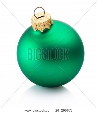Christmas Green Bauble Isolated On White Background