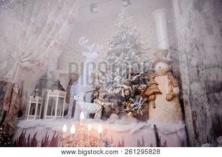 Fairy Festive Christmas Storefront With Decorated Artificial Christmas Trees And Toys On The Pink Ba