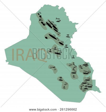 Reservoirs Of Oil In Iraq. Irak Map With Deposits Of Oil. Subsurface Reservoirs Of Petroleum