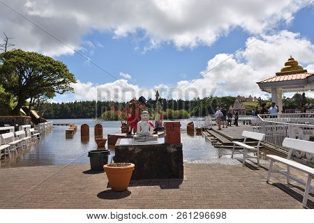 Mauritius - May 1, 2013:  Grand Bassin Temple - Hindu Temples Of Mauritius  Grand Bassin Is A Sacred