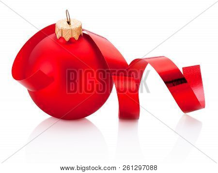Christmas Red Bauble And Curling Paper Isolated On White Background