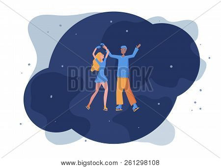 Figure Skating Concept. Flat Style Pair Skaters. Gala Exhibition. Vector Illustration.
