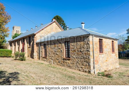 Original Schoolroom And Hall Of Christ Church Anglican Church In Beechworth. It Was Built In 1857.