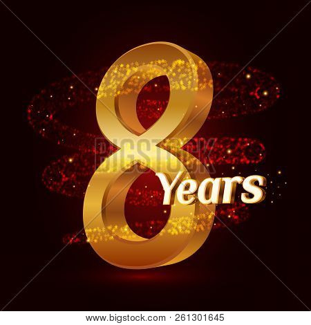 8 Years Golden Anniversary 3d Logo Celebration With Gold Glittering Spiral Star Dust Trail Sparkling