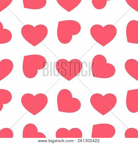 Valentines Day Background. Vector Seamless Pattern With Red Rotated Hearts On White Backdrop. Abstra