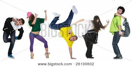 group dancer isolated over white background