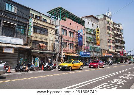 Keelung, Taiwan - September 5, 2018: Street View Of Keelung City, Ordinary People Walk The Street