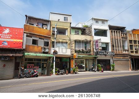 Keelung, Taiwan - September 5, 2018: Street View Of Keelung City, Ordinary Living Houses Facades Alo
