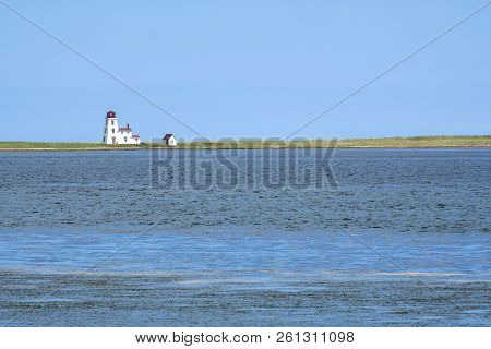 Cascumpec Lighthouse Viewed From North Port Pier Prince Edward Island Canada