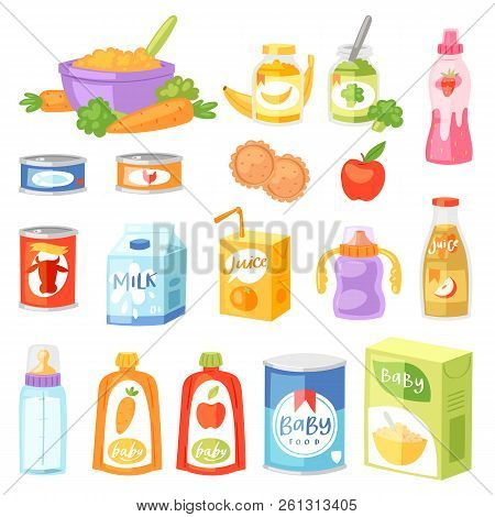 Baby Food Vector Child Healthy Nutrition Fresh Juice With Fruits And Vegetable Mashed Puree For Chil