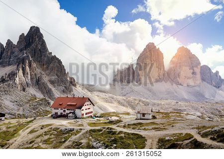rifugio hight at the Dolomites mountains a poster
