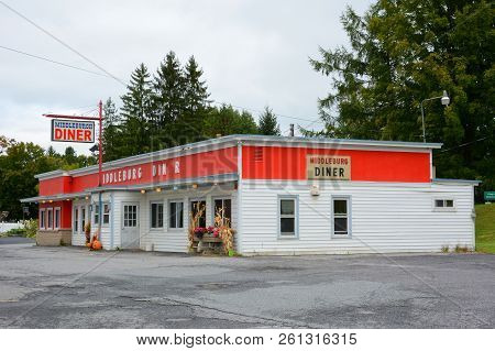 Middleburgh, New York - Sept 28, 2018: Middleburgh Diner On Main Street In Upstate New York In Schoh