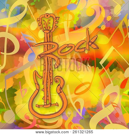 Rock Music Background With Electric Guitar And Musical Notes