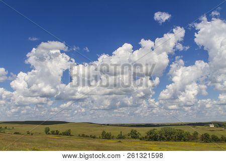 Cumulus Clouds, Blue Sky, Tallgrass Prairie National Preserve, Kansas