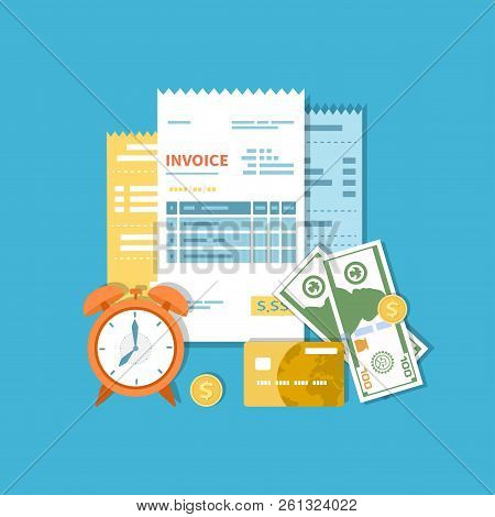Invoices, Accounts, Checks With Money And Clock. Payment And Invoicing, Business Or Financial Operat