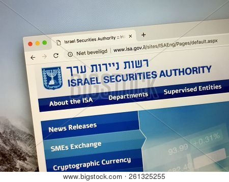 Amsterdam, Netherlands - October 3, 2018: Website Of The Israel Securities Authority Or Isa, The Nat