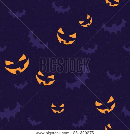 Seamless Pattern With Orange Halloween Smile And Bat In Stamp Style. Vector Illustration For Holiday