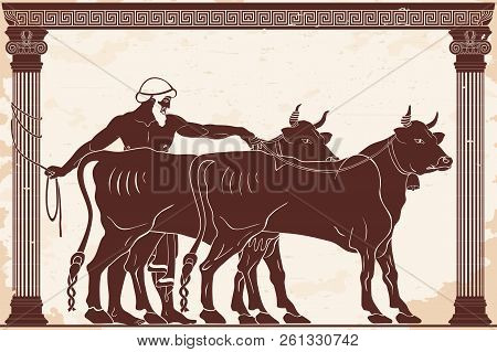 Hercules Kidnaps Cows Herd Of Gerion. 12 Exploits Of Hercules. Figure On A Beige Background With The