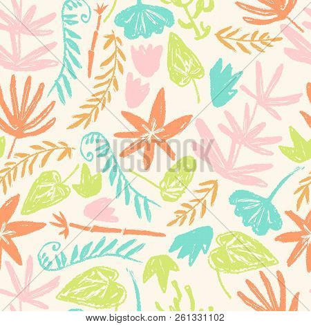 Vector Seamless Pattern With Hand Drawn Textured Prehistoric Pla