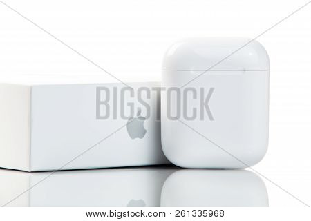 New York, Usa - October 01, 2018: Apple Wireless Earphones In Original Package Isolated On White Bac
