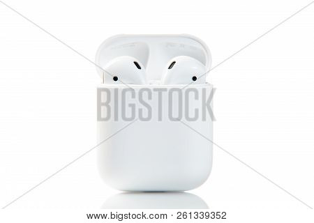 New York, Usa - October 01, 2018: Apple Airpods Isolated On White Background. Apple Wireless Earphon