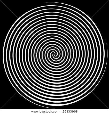 Dizzying spiralling lines in black and white