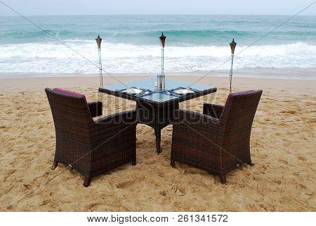 Romantic Dinner For Two On The Ocean Beach
