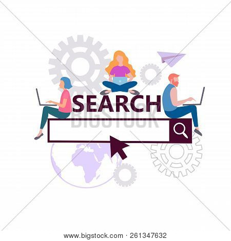 Online Search Concept, Search Engine Optimization, Seo Internet Marketing, Teamwork. Vector Illustra