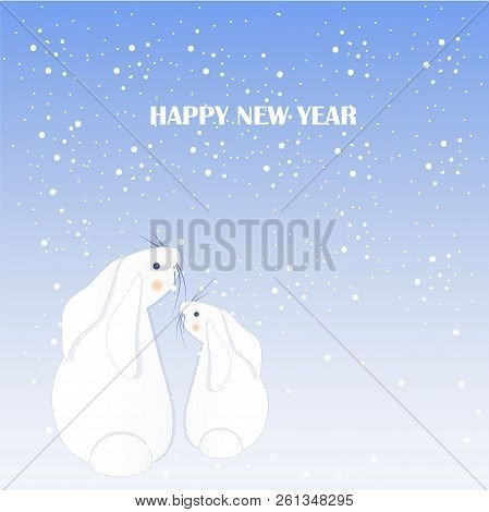 Cartoon Fan, Cute White Rabbits, Snow, Happy New Year Stock Vector Illustration For Typography Banne