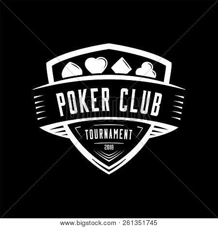 Poker Logo. Vector And Illustration. Poker Shield Vintage Design Logo Template.