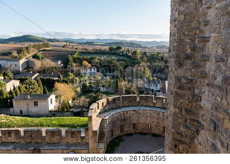 Beauty In Sunset Castell In Carcassonne, Occitania, France.
