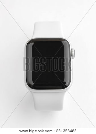 Rostov-on-don, Russia - October 2018. Apple Watch Series 4 On Gray Background. New Smart Watches Fro