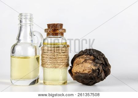 Oil In A Bottle And Walnuts On A White Kitchen Table. Spices And Ingredients Useful In Kuchi.
