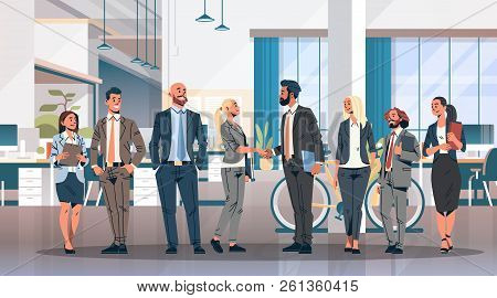 Business People Group Hand Shake Agreement Communicating Concept Modern Coworking Office Interior Cr